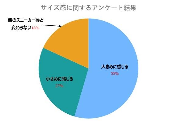 ドクターマーチンサイズ感に関するアンケート結果のグラフ