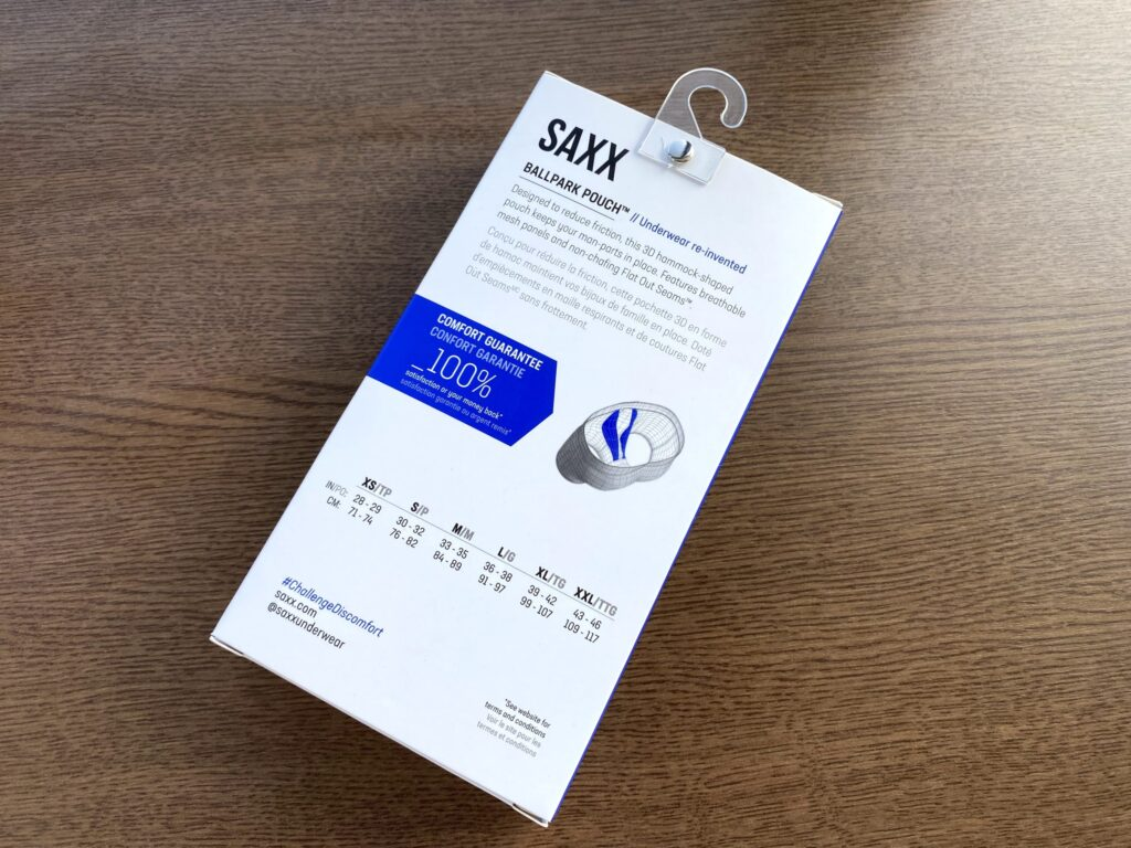 SAXXのサイズ表記があるパッケージ裏面の画像