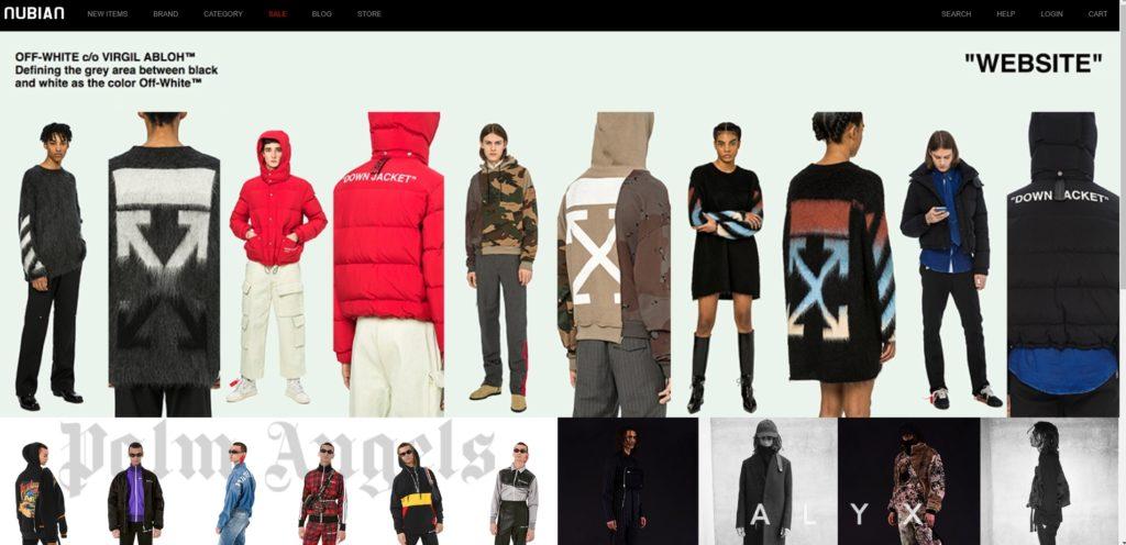 NUBIAN通販サイトのトップページの写真